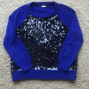 Cable Sequin Front Crewneck Pullover Sweater